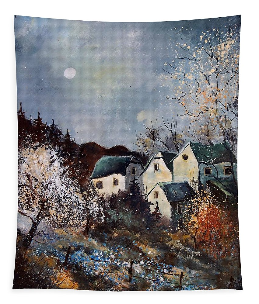 Village Tapestry featuring the painting Moonshine by Pol Ledent
