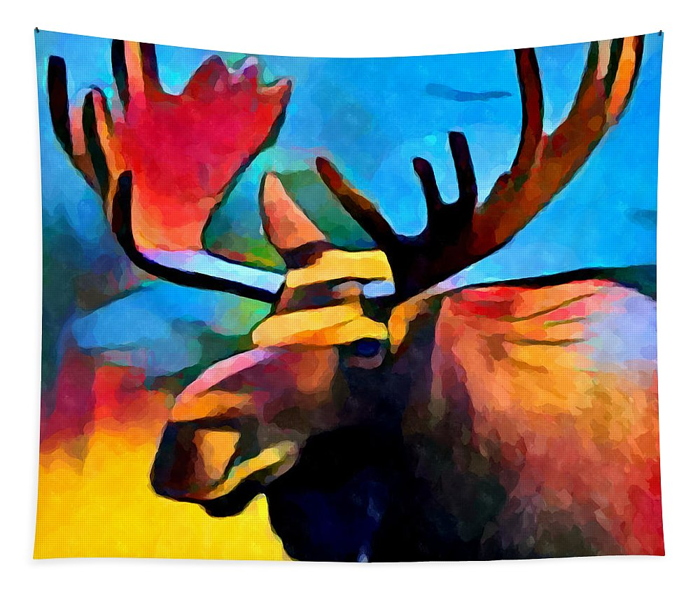 Moose Tapestry featuring the painting Moose by Chris Butler