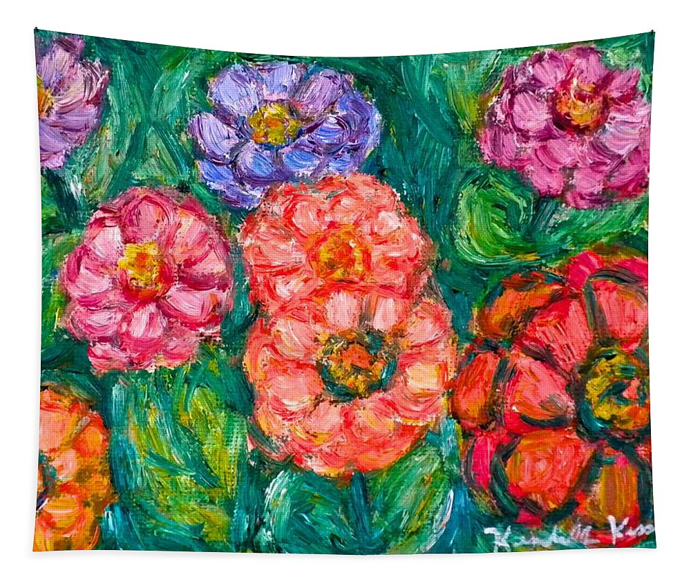 Flowers Tapestry featuring the painting More Zinnias by Kendall Kessler