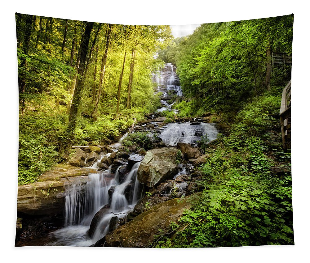 Appalachia Tapestry featuring the photograph Morning At Amicalola Falls by Debra and Dave Vanderlaan