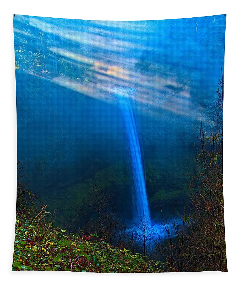 Morning At South Falls Tapestry featuring the photograph Morning At South Falls by Jon Burch Photography