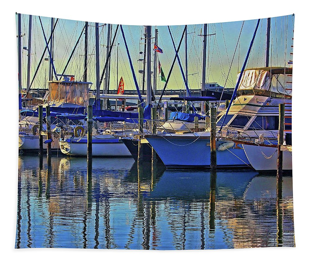 Marina Tapestry featuring the photograph Morning At The Marina by HH Photography of Florida