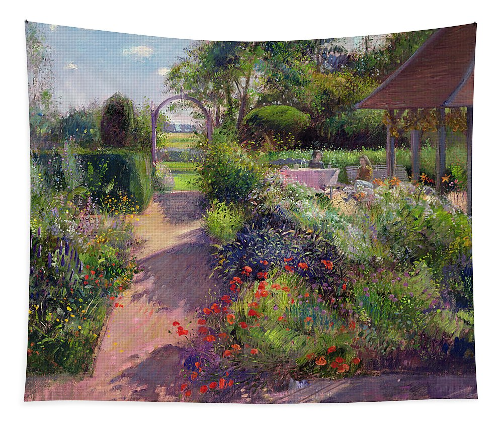 Landscape; Path; Flowerbed; Summer; Arch; Pergola; Tree; Trees; Bush; Bushes; Flower; Flowers; Garden; Women; Sitting; Enjoying Tapestry featuring the painting Morning Break In The Garden by Timothy Easton