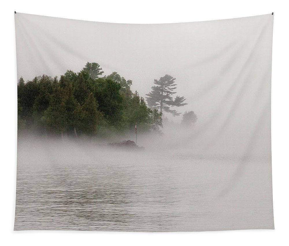 Morning Fog On Lake Superior Tapestry featuring the photograph Morning Fog On Lake Superior by Phyllis Taylor