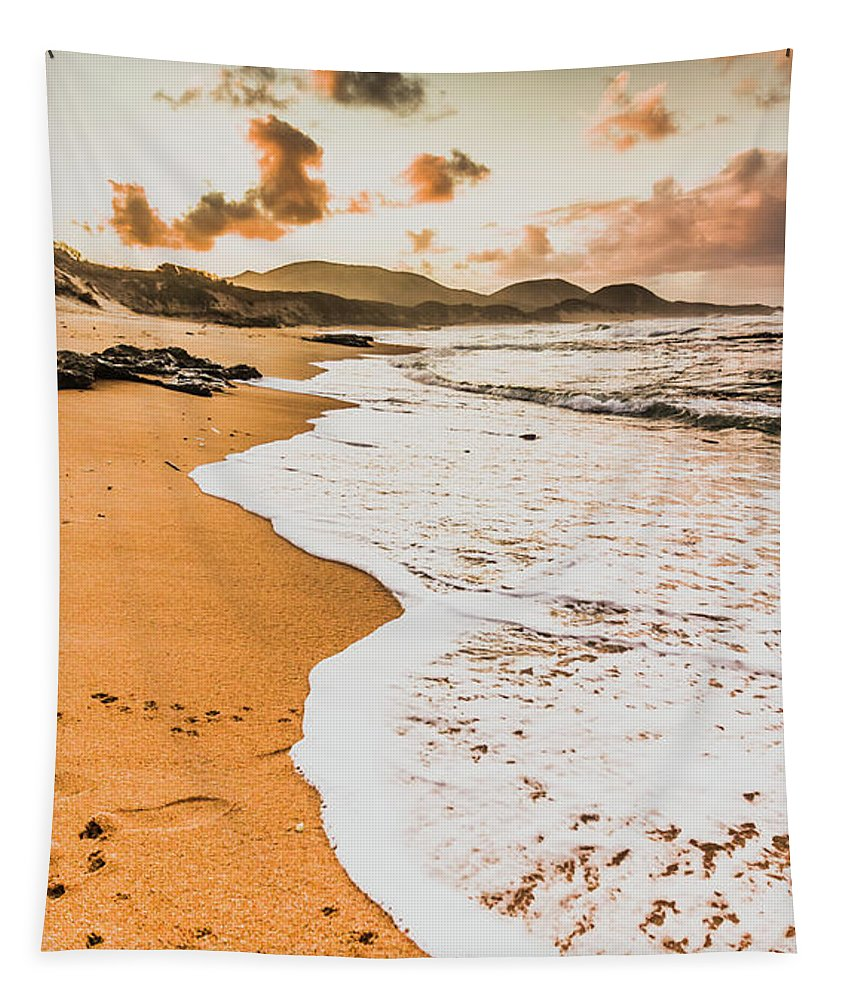 Shoreline Tapestry featuring the photograph Morning Marine Wash by Jorgo Photography - Wall Art Gallery