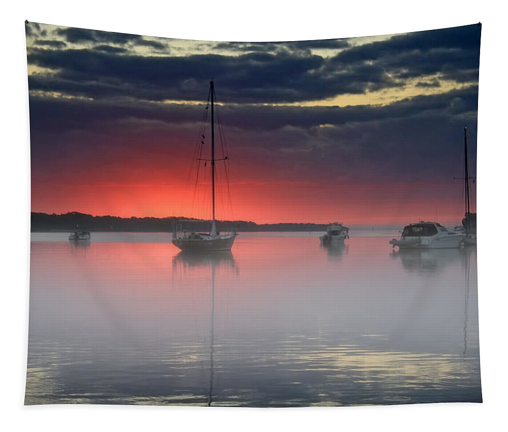 Sunrise Tapestry featuring the photograph Morning Mist - Florida Sunrise by HH Photography of Florida