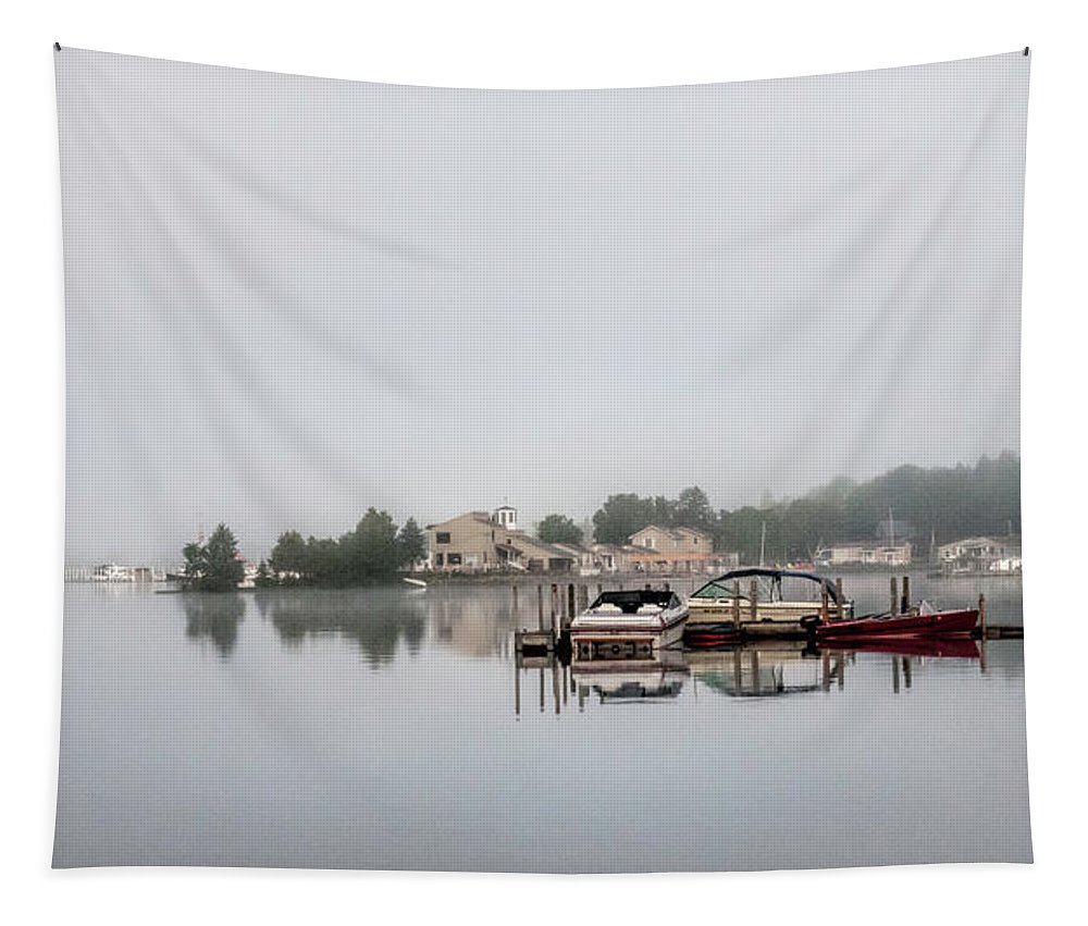 Morning Mist On The Lake Tapestry featuring the photograph Morning Mist On The Lake by Phyllis Taylor