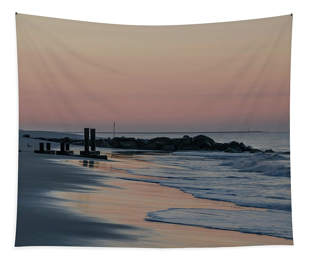 Morning Tapestry featuring the photograph Morning On The Beach At Cape May by Bill Cannon