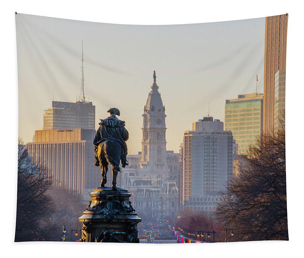 Morning Tapestry featuring the photograph Morning On The Parkway - Philadelphia by Bill Cannon