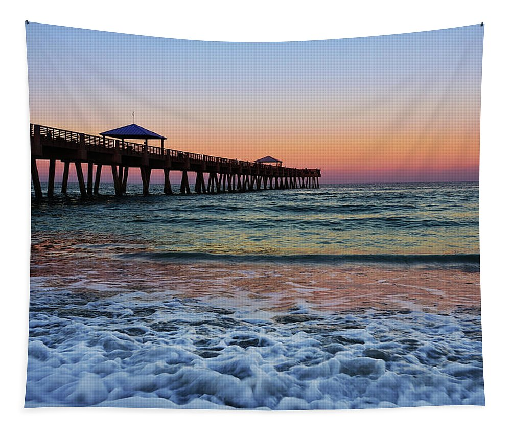 Pier Tapestry featuring the photograph Morning Rush by Laura Fasulo