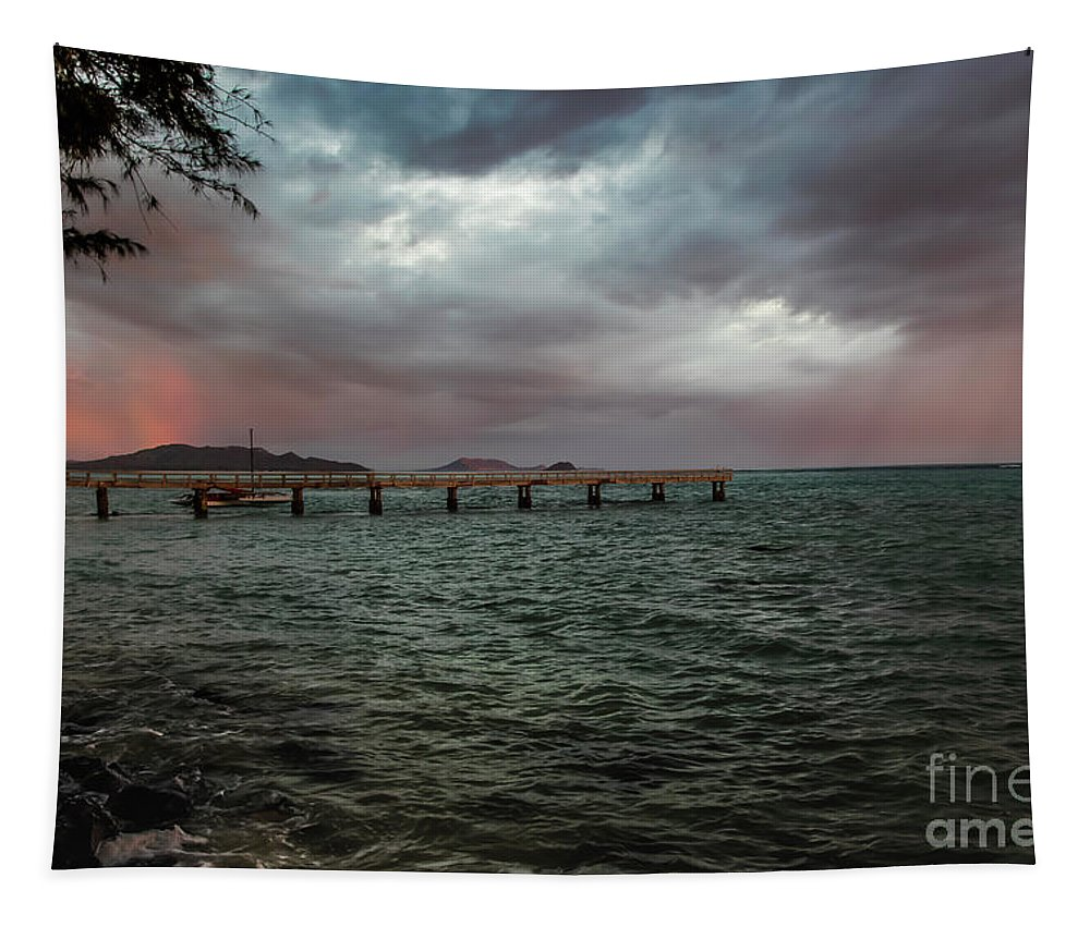 Morning Squall Tapestry featuring the photograph Morning Squall by Mitch Shindelbower