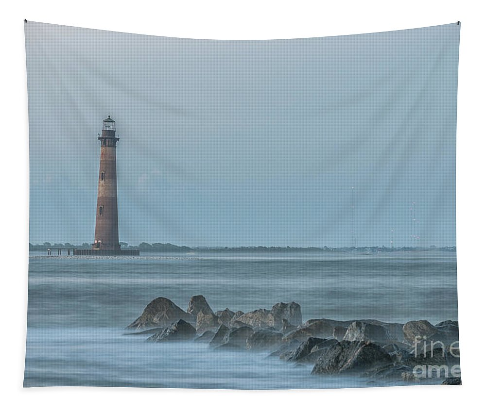 Morris Island Lighthouse Tapestry featuring the photograph Morris Island Lighthouse Folly Beach by Dale Powell