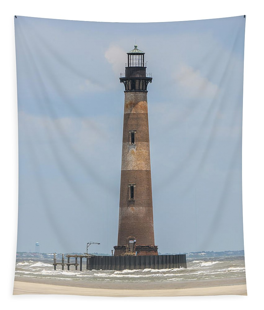 Morris Island Lighthouse Tapestry featuring the photograph Morris Island Lighthouse In Charleston Sc by Dale Powell