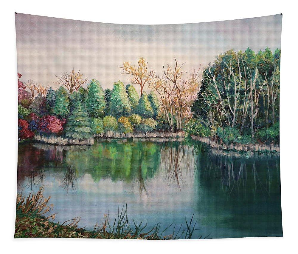 Landscape Tapestry featuring the painting Morton Arboretum No.2 by Carole Sluski