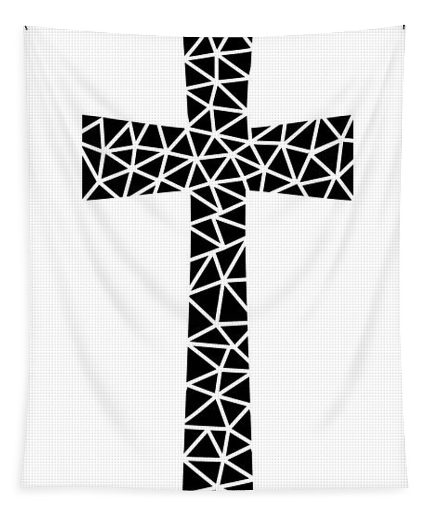 Mid Century Modern Tapestry featuring the digital art Mosaic Cross by Donna Mibus
