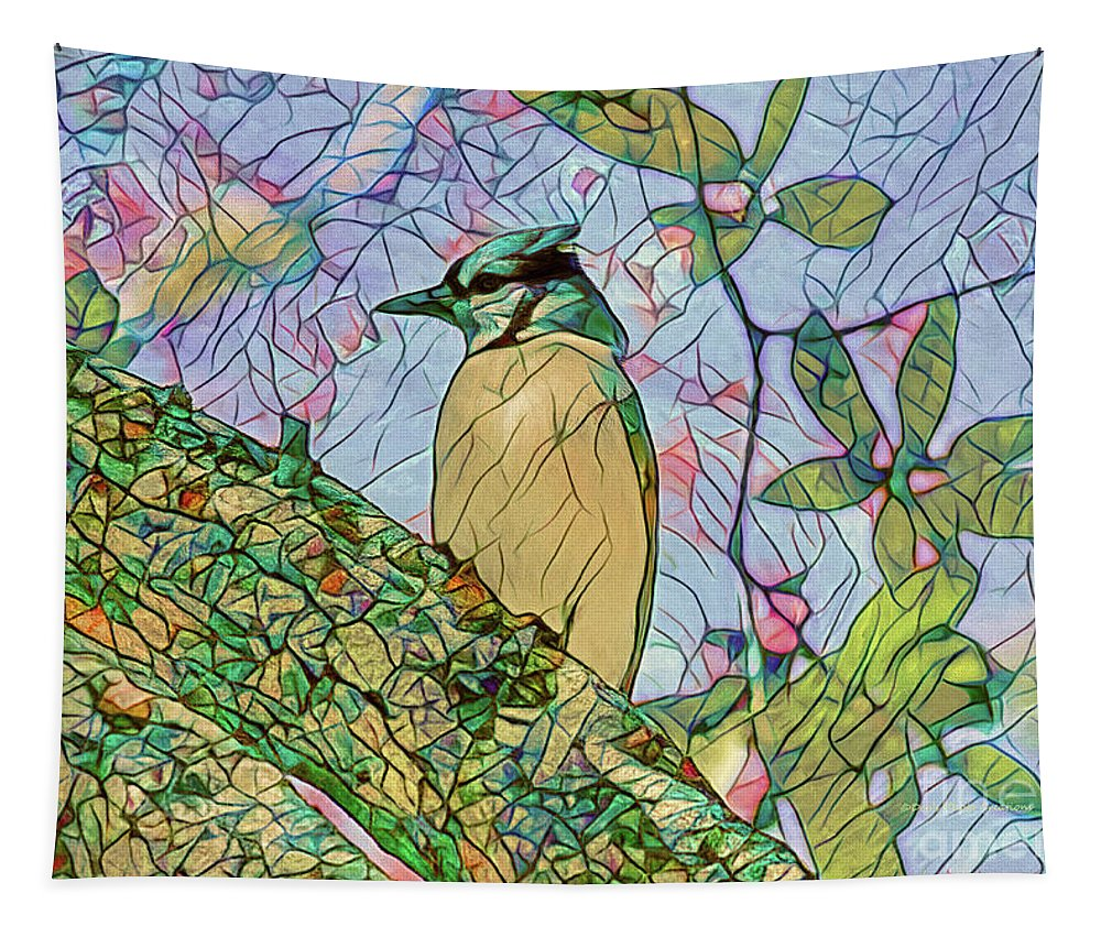 Blue Jay Tapestry featuring the painting Mosaic Of Blue Jay by Deborah Benoit