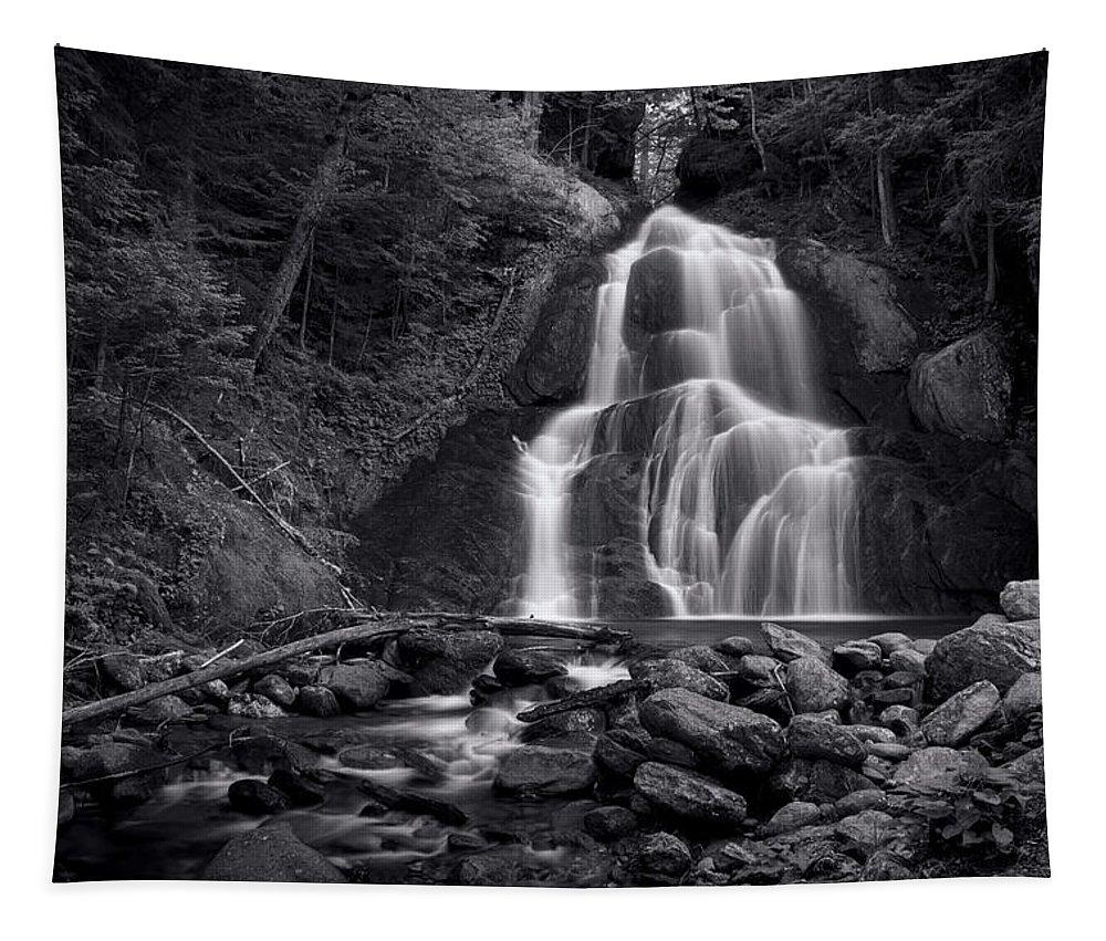 Moss Glen Falls Tapestry featuring the photograph Moss Glen Falls - Monochrome by Stephen Stookey
