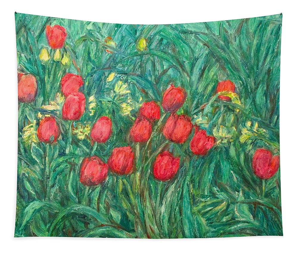 Kendall Kessler Tapestry featuring the painting Mostly Tulips by Kendall Kessler
