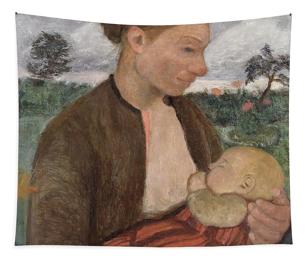 Mother Tapestry featuring the painting Mother And Child by Paula Modersohn Becker