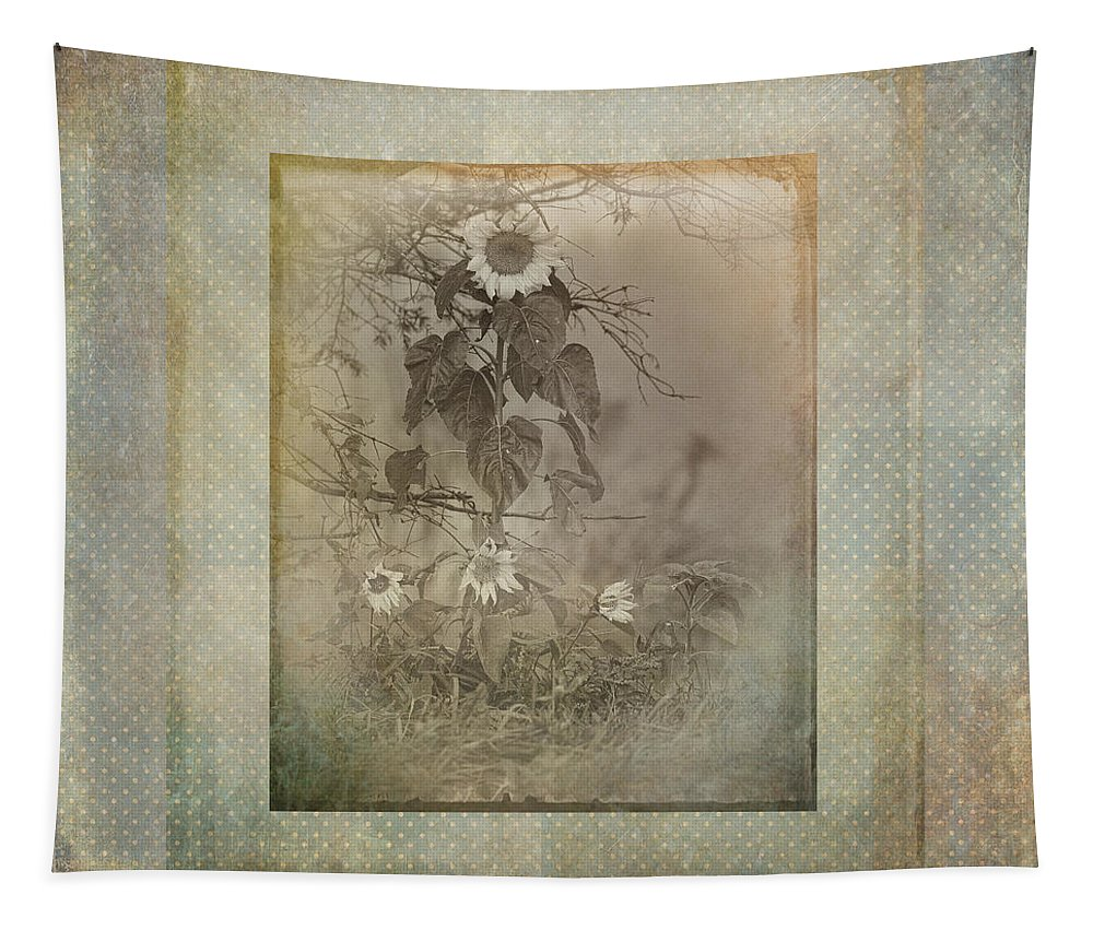Sunflowers Tapestry featuring the photograph Mother And Child Reunion Vintage Frame by Susan Capuano
