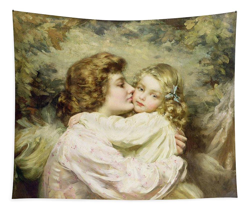Gg55737 Tapestry featuring the photograph Mother And Daughter by Thomas Benjamin Kennington