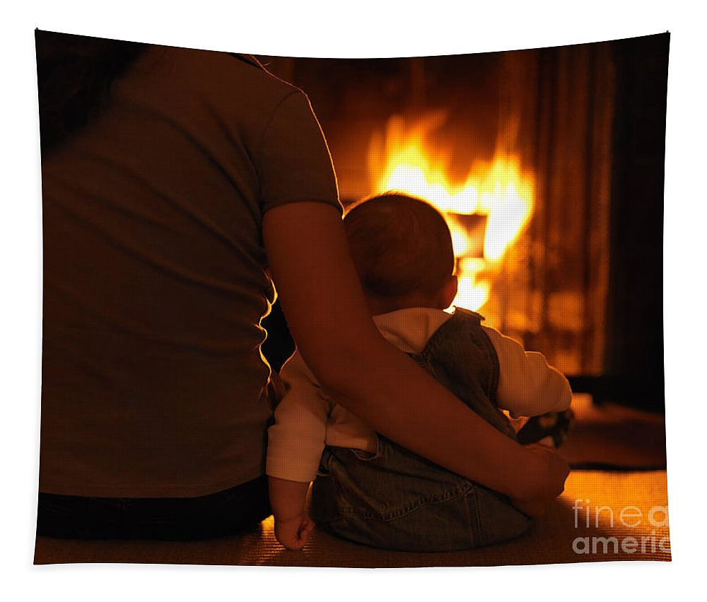 Family Tapestry featuring the photograph Mother And Son Sitting In Front Of A Firepalce by Oleksiy Maksymenko