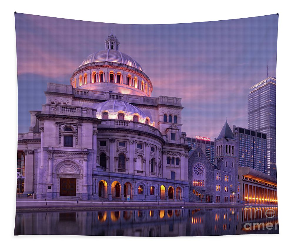Architecture Tapestry featuring the photograph Mother Church And Reflection by Jerry Fornarotto