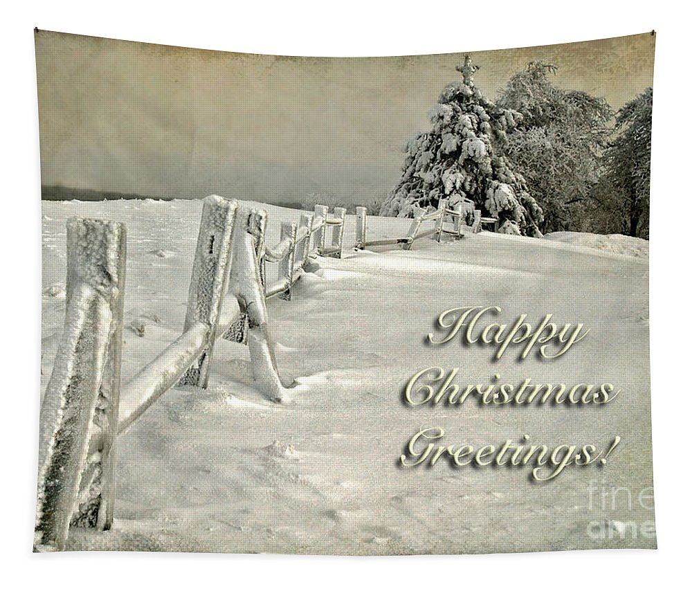 Christmas Tapestry featuring the photograph Mother Nature's Christmas Tree Card by Lois Bryan