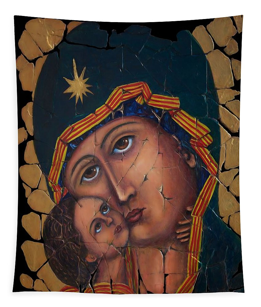 Vladimir Mother Of God Tapestry featuring the painting Mother Of God by OLena Art Brand