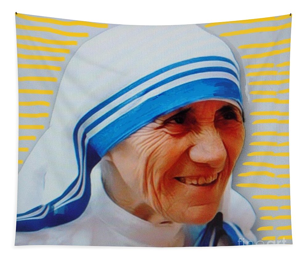 Mother Teresa Tapestry featuring the mixed media Mother Teresa by Vesna Antic
