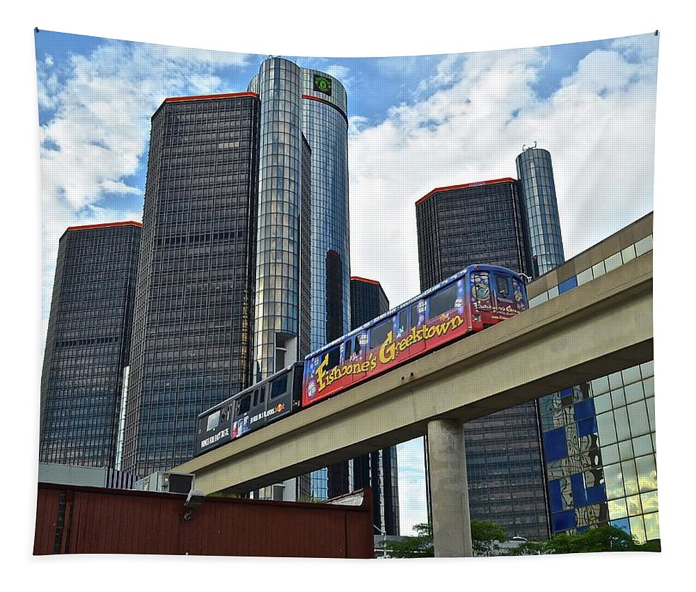 Detroit Tapestry featuring the photograph Motoring In The Motor City by Frozen in Time Fine Art Photography