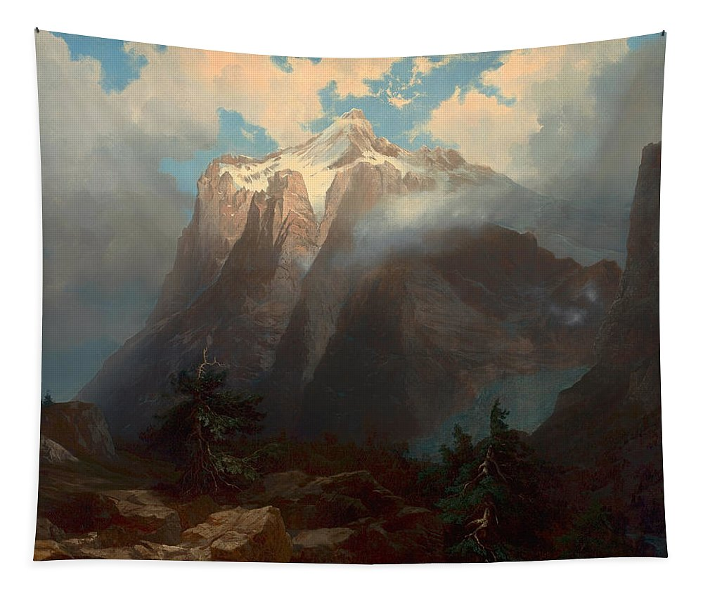 Painting Tapestry featuring the painting Mount Brewer From King's River Canyon - California by Mountain Dreams
