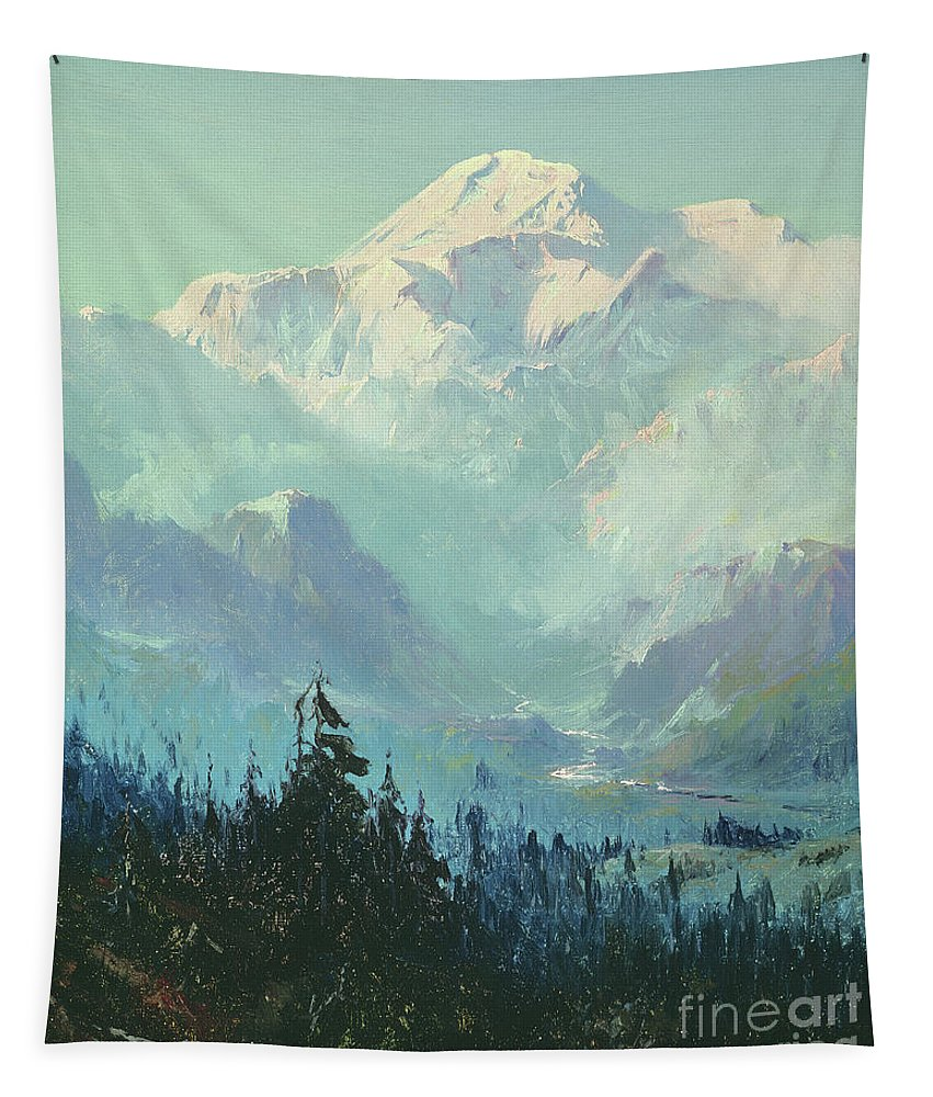 Mount Mckinley Tapestry featuring the painting Mount Mckinley by Sidney Laurence