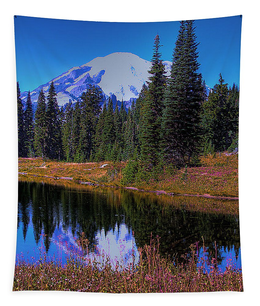 Mountain Tapestry featuring the photograph Mount Rainier And Tipsoo Lake by David Patterson