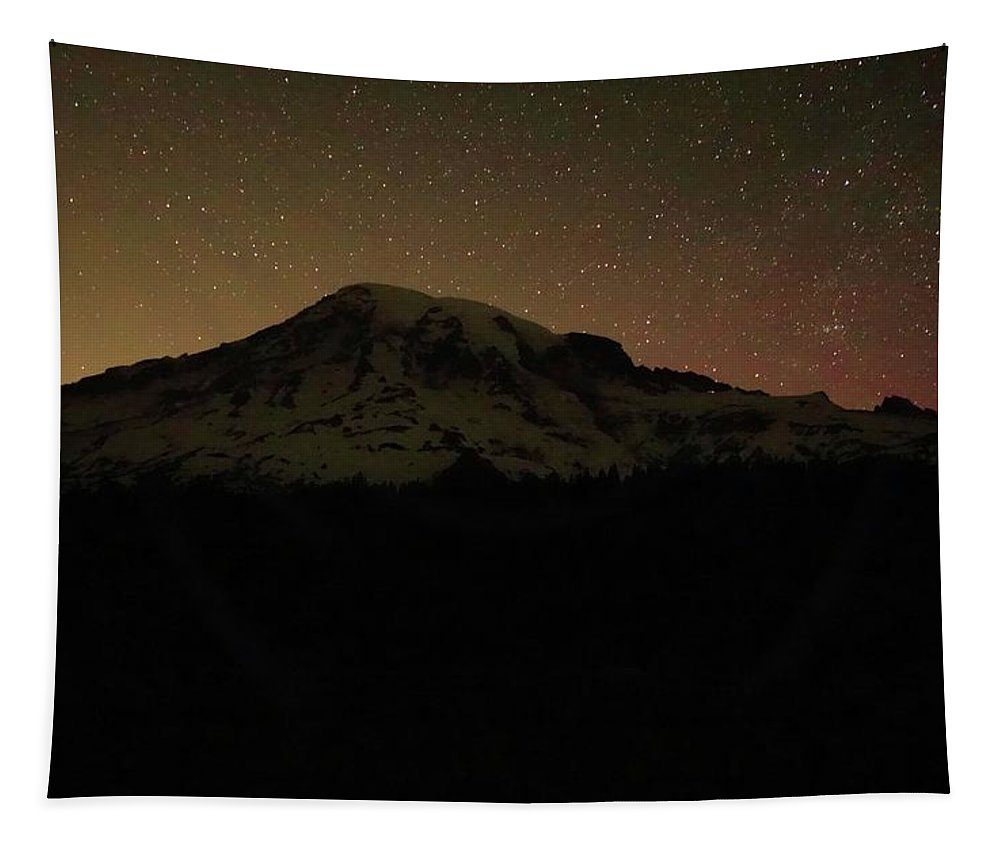 Mount Rainier Night Sky Tapestry featuring the photograph Mount Rainier Night Sky by Dan Sproul