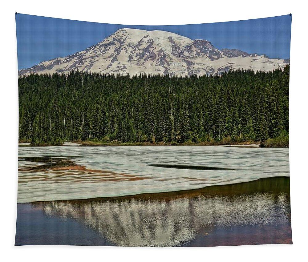 Mount Rainier Reflection Lake Tapestry featuring the photograph Mount Rainier Reflection Lake by Dan Sproul