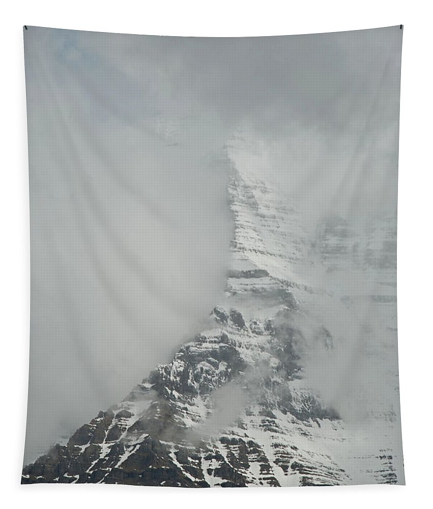 Mount Robson Tapestry featuring the photograph Mount Robson In The Clouds by Katherine Nutt