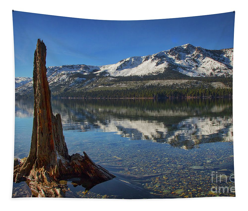 Fallen Leaf Lake Colorful Bottom Tapestry featuring the photograph Mount Tallac And Fallen Leaf Lake by Mitch Shindelbower