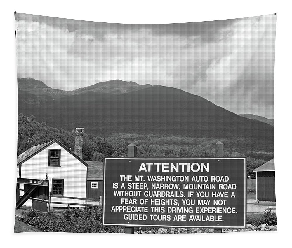 Mount Washington Tapestry featuring the photograph Mount Washington Nh Warning Sign Black And White by Toby McGuire