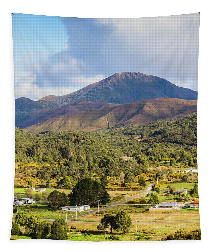 Countryside Tapestry featuring the photograph Mount Zeehan Valley Town. West Tasmania Australia by Jorgo Photography - Wall Art Gallery