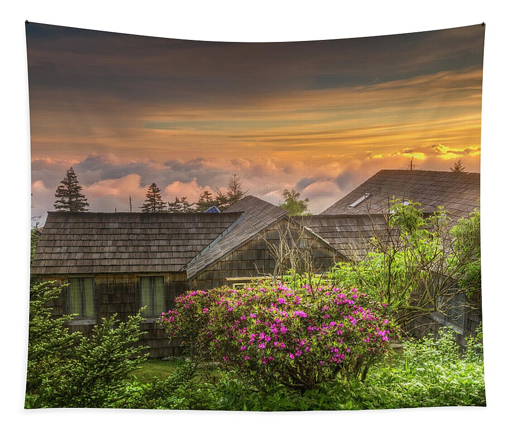 Appalachia Tapestry featuring the photograph Mountain Flowers At Sunrise by Debra and Dave Vanderlaan
