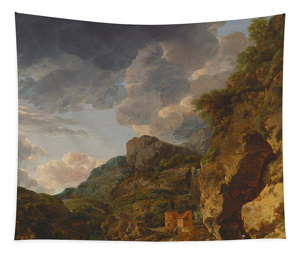 Painting Tapestry featuring the painting Mountain Landscape With River And Wagon by Mountain Dreams