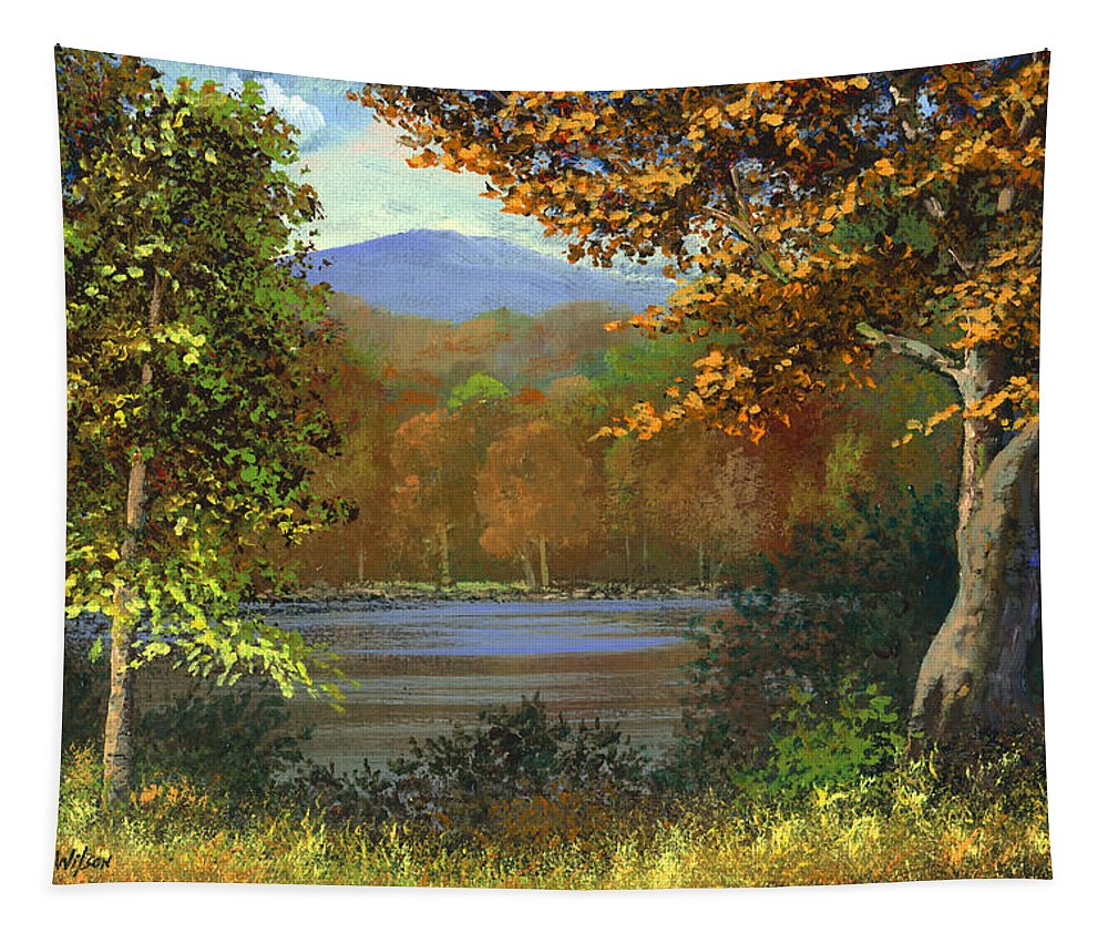 Landscape Tapestry featuring the painting Mountain Pond by Frank Wilson