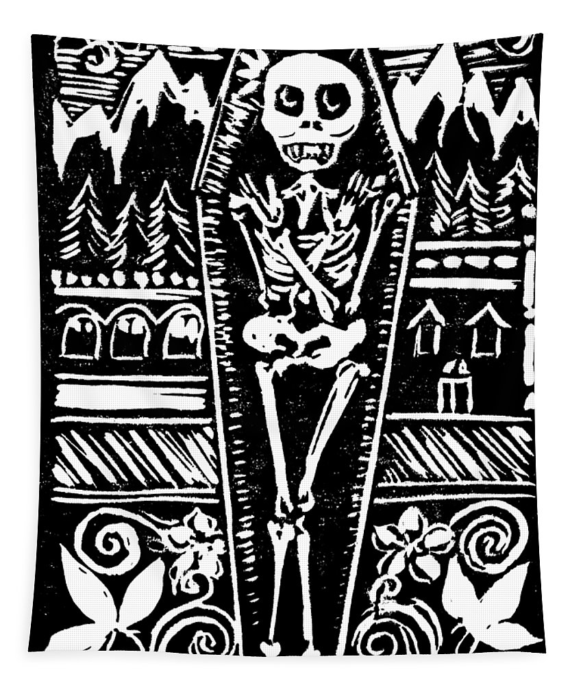Lino Tapestry featuring the relief Mountain Town Skeleton by Katherine Nutt