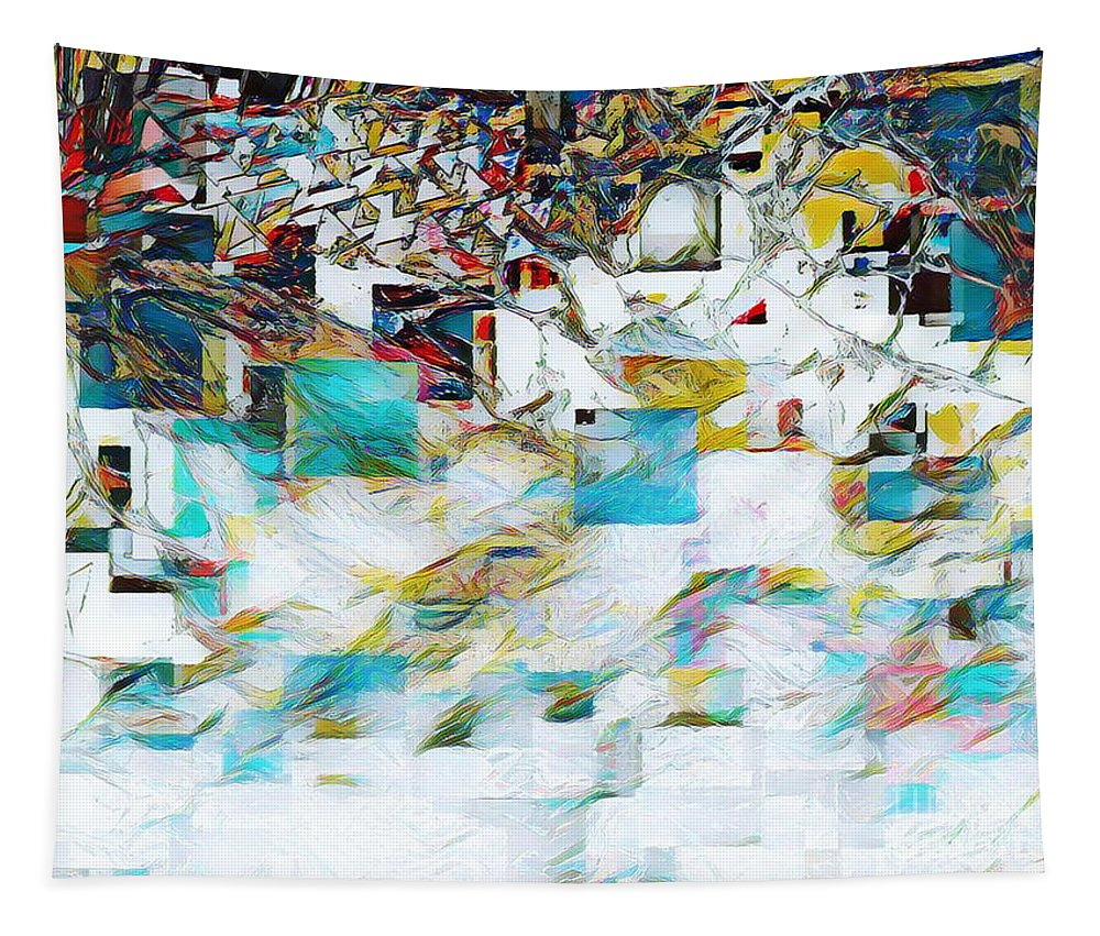 Abstract Tapestry featuring the mixed media Snowy Mountains by Jessica Eli