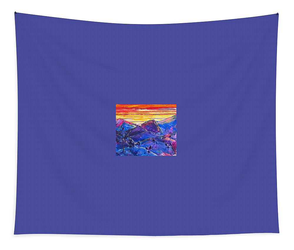 Mountains Tapestry featuring the painting Mountainscape Blue by Rollin Kocsis