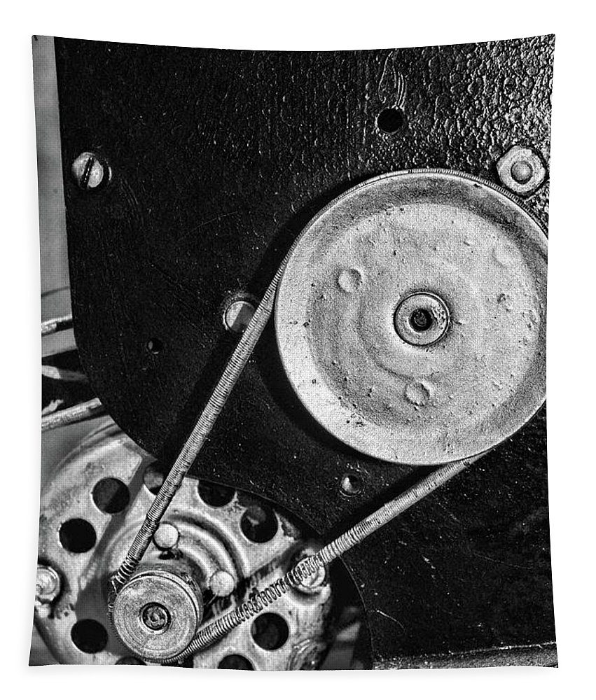 Paul Ward Tapestry featuring the photograph Movie Projector Gears In Black And White by Paul Ward