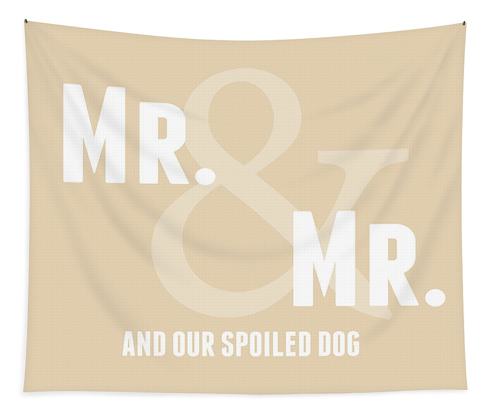 Mr Tapestry featuring the digital art Mr And Mr And Dog- Sand by Linda Woods