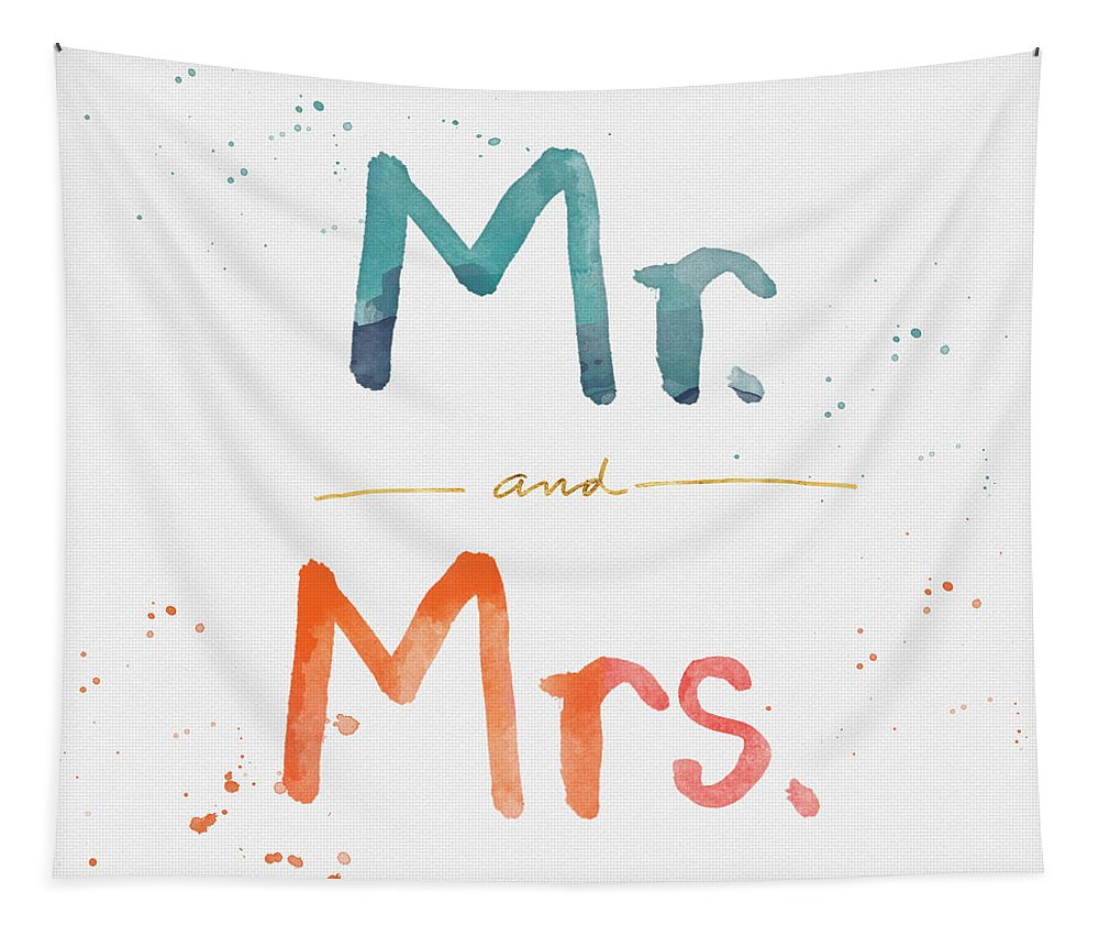 Mr And Mrs Tapestry featuring the painting Mr And Mrs by Linda Woods