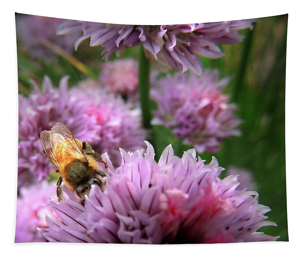 Bee Tapestry featuring the photograph Mr Bee On My Chives by Nancy Griswold